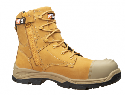 Boots No8 Safety Goldie Zip 11 Laceup Wheat